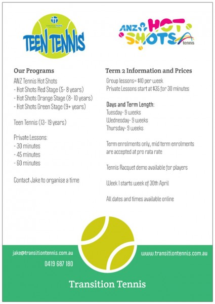 T2 Tennis Coaching- Drysdale Back