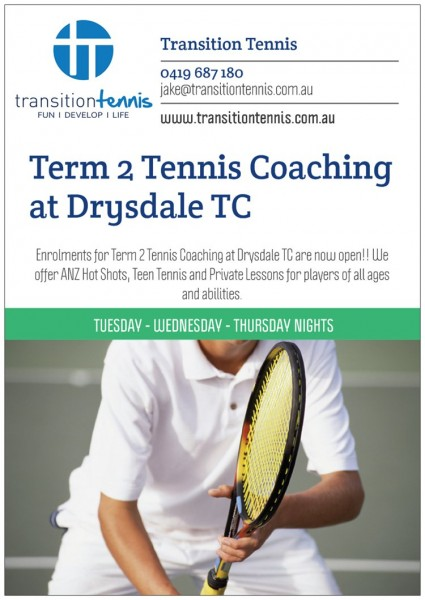 T2 Tennis Coaching- Drysdale Front